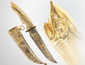 Нож охотничий «Акула» (дамаск, нейзильбер, черное дерево)