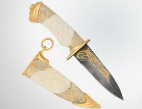 Нож охотничий «Атлантида» (дамаск, кость)