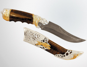 Нож охотничий «Волк» (серебро, дамаск)
