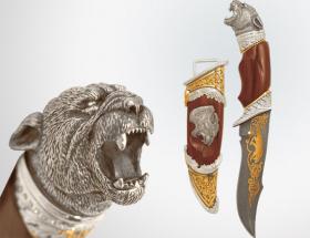 Нож охотничий «Черная пантера» (дамаск, латунь)