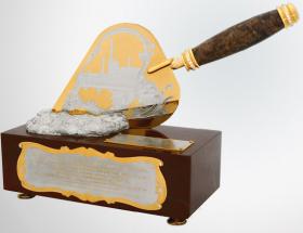 Сувенир «Мастерок» подарочный (яшма, серебро)